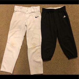 Kids Nike and Adidas Baseball pants size Medium